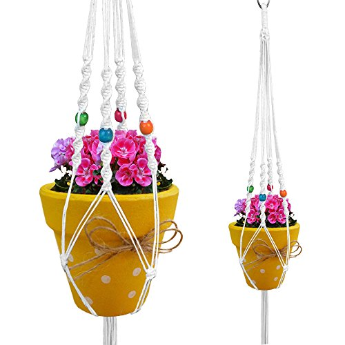 Macrame Plant Hanger White Indoor Outdoor Hanging Planter Flower Pot Basket Cotton White Rope 4 Legs 35 Inch with Colored Beads. Perfect for Patio Balcony Deck Garden Round and Square Pots (White Hanging Planter Bracket compare prices)
