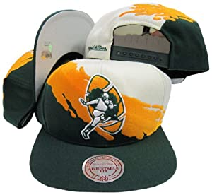 Green Bay Packers Snapback Adjustable Plastic Snap Mitchell & Ness Hat / Cap