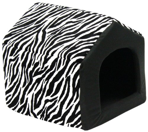 Best Friends by Sheri 2 in 1 Pet House-Sofa Pet Bed, 16 by 15 by 14-Inch, Medium, Zebra White