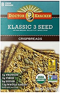Doctor Kracker Klassic 3 Seed Organic Crispbreads, 7-Ounce Boxes (Pack of 6)