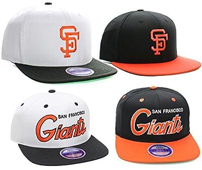 MLB San Francisco Giants Flat Bill Snapback Hat Cap (Many Colors, Logo or Script)
