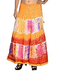 Aura Life Style Women's Cotton Bandhej Skirt (ALSK3003B, Multi , Free Size)