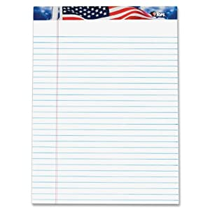TOPS American Pride Writing Tablet, 8-1/2 x 11-3/4 Inches, Perforated, White, Legal/Wide Rule, 50 Sheets per Pad, 12 Pads per Pack (75111)