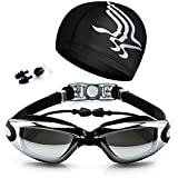 Dsoso Swimming Goggles with Earplug and Free Protective Case No Leaking Anti Fog UV Protection Adjustable Strap and Nose Bridge Black Goggles + Case + Swim Cap + Nose Clip + Ear Plug