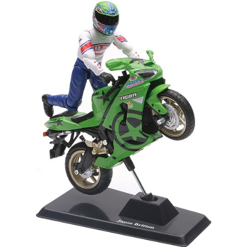 New Ray Kawasaki ZX-6RR Ninja Jason Britton Replica Motorcycle Toy - Green/Black/Cust Graphics / 1:18 Scale