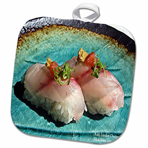 3dRose Rick London Fine Art Sushi Gifts - Scrumptious Pieces Of Sushi - 8x8 Potholder (phl_25816_1)