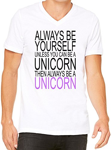 Always Be Yourself Slogan T-Shirt V-Collo Donne Large