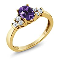 0.67 Ct Oval Purple Amethyst White Topaz 18K Yellow Gold Plated Silver Ring