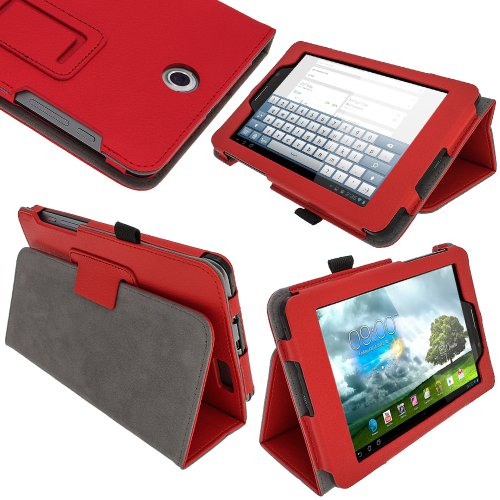 "igadgitz Rot 'Ergo-Portfolio' PU Leder Tasche Schutz Hülle Schutzhülle Ledertasche Lederetui Etui Case Cover für Asus Fonepad ME371MG 7"" 3G wi-fi Android Tablet 16GB 32GB + Display Schutzfolie"