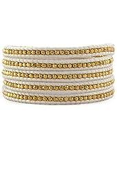 Chan Luu Gold Tone Wrap Bracelet on White Leather