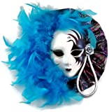 Mardi Gras Mask Wall Decor with Turquoise Feather Accents, Masquerade Mask Decor