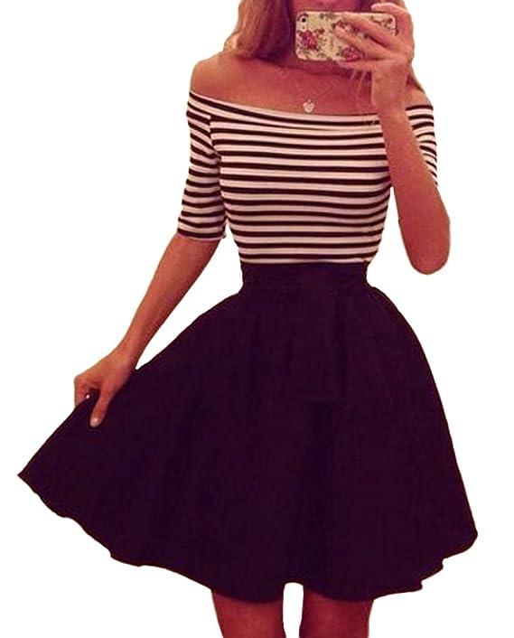 made2envy Trendy Off Shoulder Striped Skater Dress