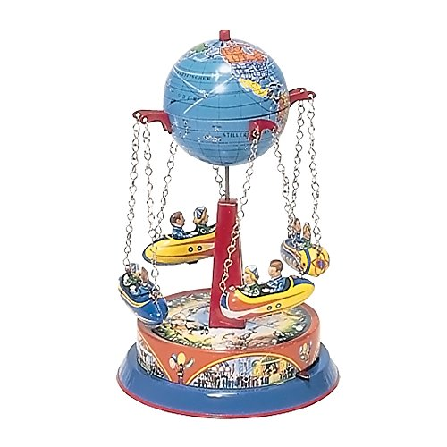 Alexander Taron German Collectible Tin Toy – Carousel with Rocket Ships on Chains – 8″H x 5″W x 5″D