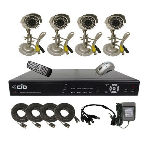 CIB K404W500G8752 4CH Network Security Surveillance DVR w/ Four CCD Cameras Sony Sensor KIT.
