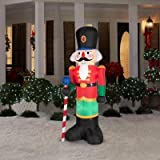6.5' Tall Christmas Red Lighted Nutcracker LED Airblown Inflatable By Gemmy Outdoor Yard Decoration