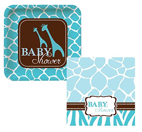 Wild Safari Baby Blue Giraffe Lunch Napkins & Plates Party Kit for 8
