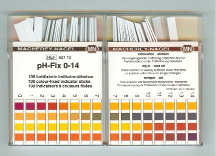 0-14 pH indicator strips 100/box