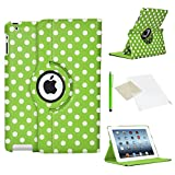 ICHOOSE 360 Rotating Case/Cover for Apple iPad 2/3/4 / New Premium PU Leather 360 Degree Rotating Smart Case Stand Rotation Swivel Cover with Free Screen Protector & Stylus Pen - POLKA DOT GREEN/WHITE