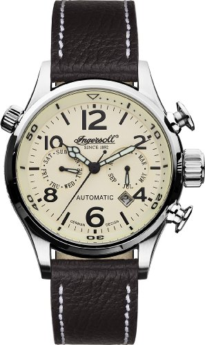 Ingersoll 'Bull Run' gents cream dial dark brown leather strap watch