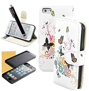 M LV(TM) Graceful Butterflies Print Stand Leather Carry Case Cover Fit For iPhone 5 5S,With Credit Cards Slots,Screen Protector,M LV Stylus and Cleaning Cloth from M LV