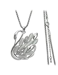 Platinum Plated Opaline Cats Eye Crystal Studded Swan Pendant Necklace By ETERNO FASHIONS