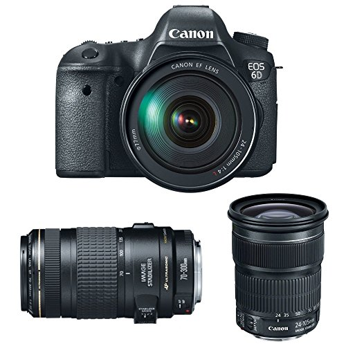 Canon EOS 6D 20.2 MP CMOS Digital SLR Camera with 3.0-Inch LCD and EF 24-105mm IS STM Lens Kit + EF 70-300mm f/4-5.6 IS USM Lens