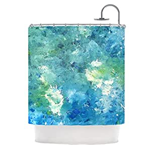 Kess Inhouse Carollynn Tice Sporatically Teal Green Shower Curtain 69 By 70 Inch
