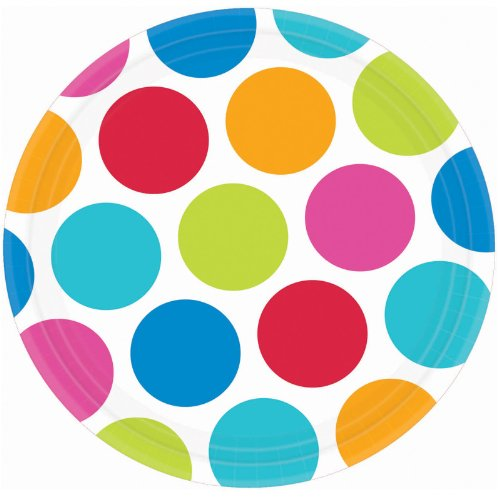 """Amscan Large Rainbow Polka Dots Round Lunch Plates, Multicolored, 10.5"""""""