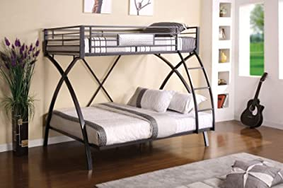 Perfect Furniture of America Garrett Twin Over Full Bunk Bed Gunmetal and Chrome Finish ue ue