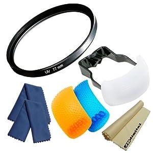 77mm UV Ultra-Violet Protection Filter for CANON EOS Rebel T4i T3i T3 T2i T2 T1i XT XTi XSi with (Canon 17-35mm f/2.8 L, EF 24-105mm f/4L IS USM, EF 17-40mm f/4L USM, EF-S 10-22mm f/3.5-4.5 USM) Lenses + 3-Color (White, Orange and Blue) Pop-Up Flash Diffuser + Super Fine 3 Pcs JB Digital Microfiber Cleaning Cloth (2 Blue, 1 Yellow)