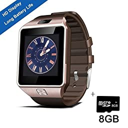 Smart Watch,SHONCO Smartwatch Bluetooth Watch Phone Watch DZ09 Sync to Samsung S6 /S5 /Note 2/3 /4,Nexus 6,HTC,Sony,LG and Other Android Smartphones (Golden)+ 8GB Micro SD Card