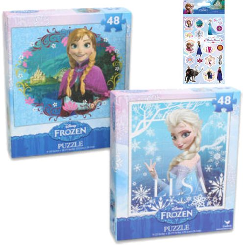 2 - Piece Disney's Frozen Puzzle Gift Set for Kids - 2 (48-Piece) Frozen Puzzles Featuring Anna and Elsa The Snow Queen Plus 1 Pack of Frozen Stickers