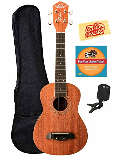 Oscar Schmidt By Washburn Ou2E Concert Acoustic-Electric Ukulele Bundle With Gig Bag, Tuner, And Polishing Cloth - Mahogany Top, Back, And Sides