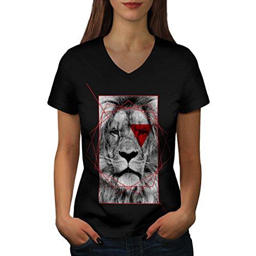geometrico Leone Reale Rosso Da donna Nuovo Nero L T-Shirt | Wellcoda