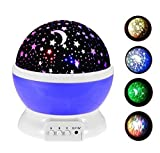Night Lighting Lamp , TFSeven Romantic Rotating Cosmos Star Sky Moon Projector , Night Lamp Kids Bedroom Lamp for Christmas Children Birthday Party Thanksgiving Valentine Easter Halloween (Blue)