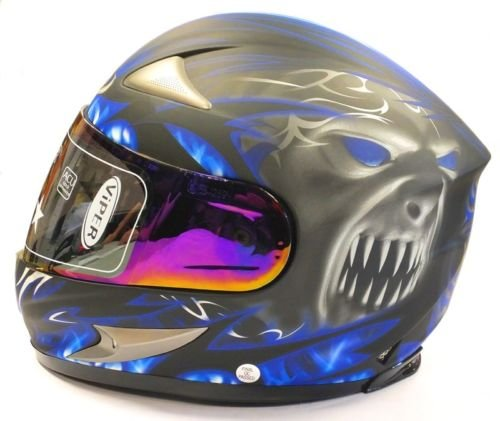 VIPER RS-220 DEMON FULL FACE MOTORCYCLE MOTORBIKE HELMET LARGE BLUE