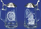 Nautical Sailing Etched German Glass Beer Stein w/ an Elegant Ship & Compass Motif, Nautical Anchor Design Embossed Pewter Lid, Made in Germany