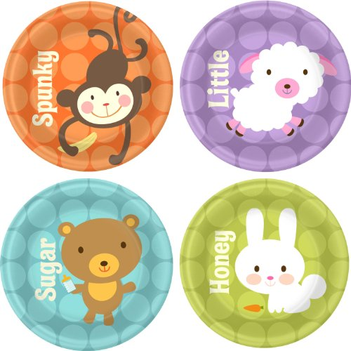 "Baby Animal Dots Baby Shower 7"" Dessert Plates 8 Pack"