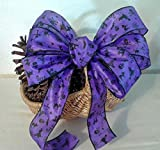Spooky Purple and Black Halloween Wreath Bow~Haunted House Centerpiece Party Decorations~Fall Door Bow~Corn Stalk~Classroom Autumn Decor~Witches~Black Cat~Gothic Decoration