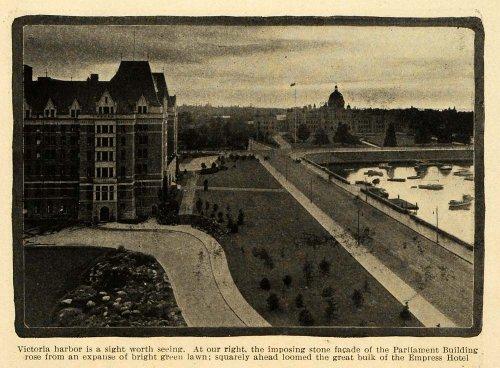 1914 Print Victoria Harbor British Columbia Parliament Building Empress Hotel - Original Halftone Print