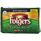 Folgers Classic Roast Decaffeinated Ground Coffee, 11.3-Ounce Refill Packs (Pack of 6)