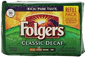 Folgers Classic Roast Decaffeinated Ground Coffee, 11.3-Ounce Refill Packs (Pack of 6) by Folgers