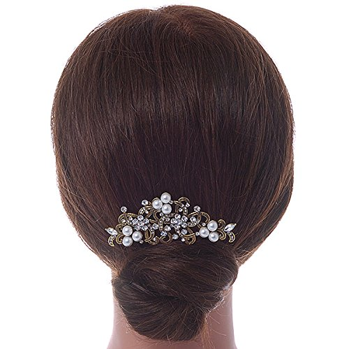Vintage Inspired Clear Austrian Crystal White Glass Pearl Side Hair Comb In Gold Tone - 90mm 1