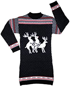 Ugly Christmas Sweater - Reindeer Threesome Naughty Sweater Dress in Navy