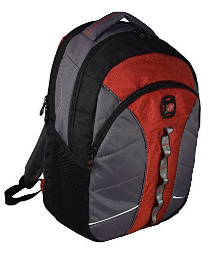 Swissgear The Sun 16-Inch Padded Laptop Backpack/School Travel Bag (Black-Red-Grey)