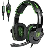 [Newly Updated ] SADES SA930 Multi-Platform Stereo Pro Gaming Headset Over Ear Headphones with Mic Volume-Control for PS4 Xbox One PC Mac Tablets Ipad Ipod Android MP3 MP4 (Green) (Color: SA930GREEN)