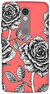 The Racoon Lean printed designer hard back mobile phone case cover for Motorola Moto X Force. (rose sketc)