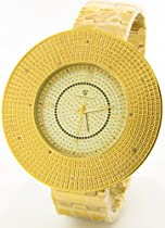 Mens Super Techno Genuine Diamond Watch Oversized Gold Case Metal Band w/ 2 Interchangeable Watch Bands #I5458