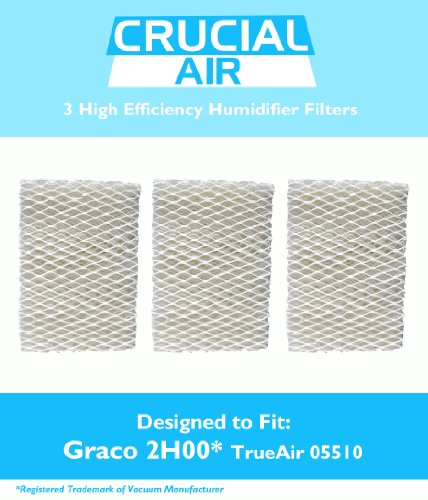 3 Graco 1.5 Gallon Humidifier Filters; Fits Graco 2H00 & TrueAir 05510; Compare to Part # 2H01; Designed & Engineered by Crucial Air - 1