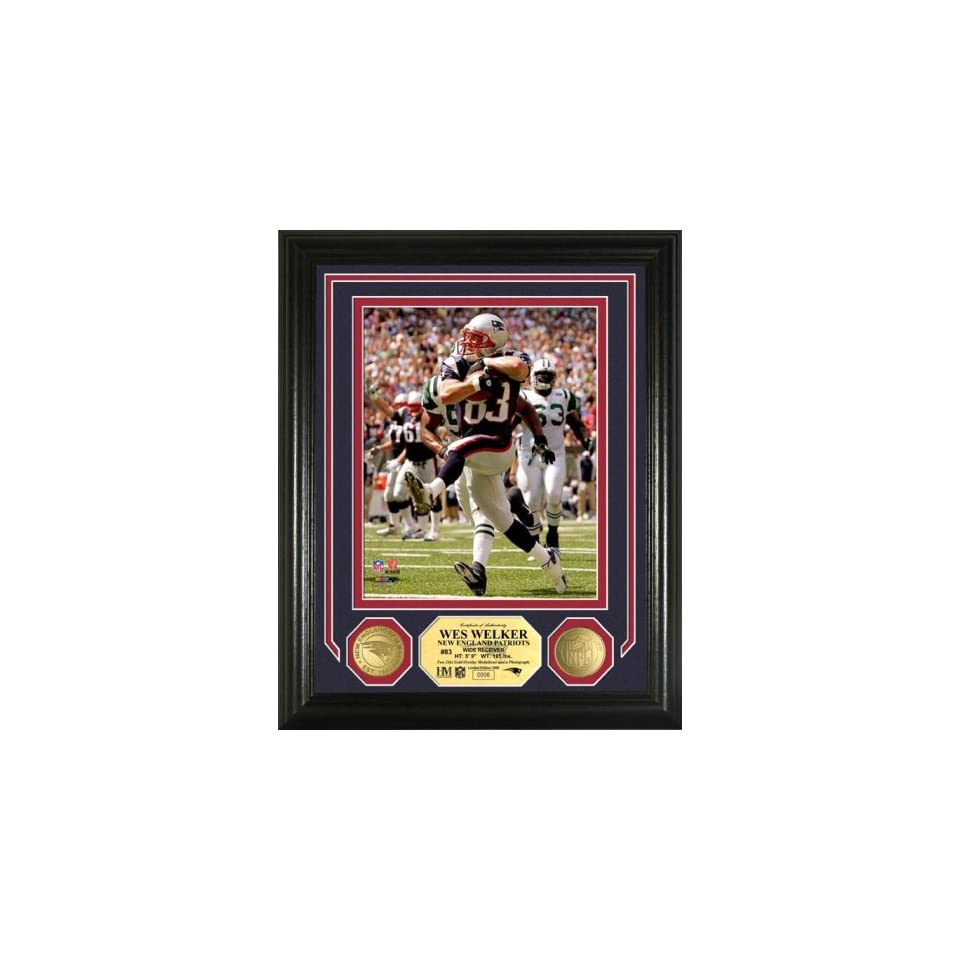 New England Patriots WES WELKER PHOTOMINT & 24KT GOLD COINS By Highland Mint